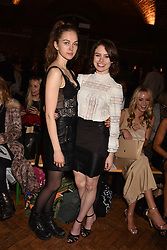 Left to right, Lucy Chappell and Sarah Winter at PPQ LFW Autumn Winter 2017 show, Crypt on the Green, Clerkenwell, London England. 17 February 2017.