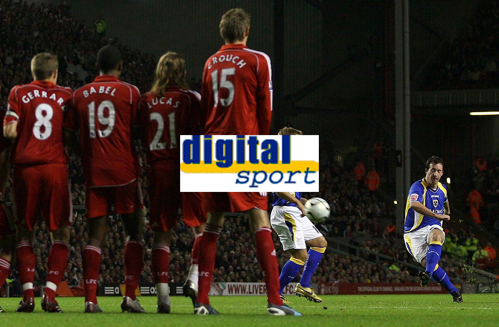 Photo: Paul Thomas.<br /> Liverpool v Cardiff City. Carling Cup. 31/10/2007.<br /> <br /> Robbie Fowler (R) of Cardiff shoots from a penalty at goal.