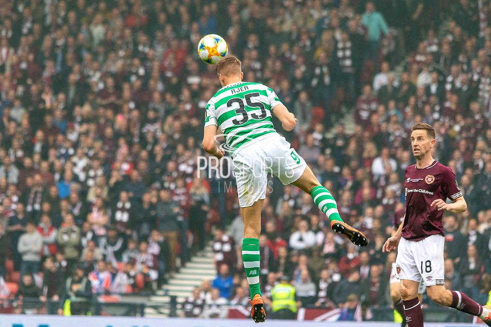 Kristoffer Ajer headers the ball clear during the William Hill Scottish Cup Final match between Heart of Midlothian and Celtic at Hampden Park, Glasgow, United Kingdom on 25 May 2019.