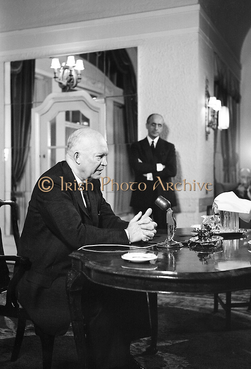 General Dwight D. Eisenhower, former President of the United States of America, gives a press conference at the Gresham Hotel. Mr. and Mrs. Eisenhower spent a few days in Ireland as part of a European tour..21.08.1962,<br /> black and white photographs of Dwight D. Eisenhower in Dublin, Ireland.<br /> black and white photos of Dwight D. Eisenhower in Dublin, Ireland.<br /> black and white portraits of Dwight D. Eisenhower in Dublin, Ireland.<br /> famous historical pictures of Dwight D. Eisenhower in Dublin, Ireland.<br /> famous photographers of Dwight D. Eisenhower in Dublin, Ireland.<br /> famous photos of Dwight D. Eisenhower in Dublin, Ireland.<br /> google images of Dwight D. Eisenhower in Dublin, Ireland.<br /> historic image of Dwight D. Eisenhower in Dublin, Ireland.