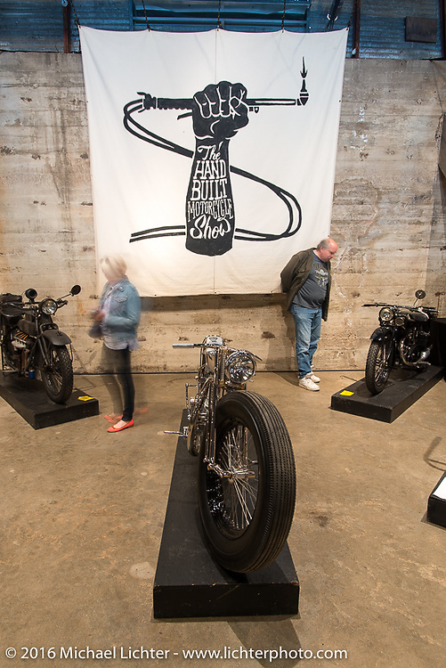 """Max Hazan's spectacular """"Musket"""" (a custom twin engine Royal Enfield) on Saturday in the Handbuilt Motorcycle Show. Austin, TX, USA. April 9, 2016.  Photography ©2016 Michael Lichter."""