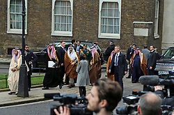**live news rates apply**<br /> © Licensed to London News Pictures. File picture dated 07/03/2018. London, UK. A man believed to be Maher Abdulaziz Mutreb (pictures seventh from left at rear), a bodyguard suspected in the murder of  Saudi Arabian journalist Jamal Khashoggi, pictured on Downing Street as part of the Entourage of Saudi Crown Prince Mohammed bin Salman. British Prime Minister Theresa May meet Saudi Crown Prince Mohammed bin Salman at No.10 Downing during a state visit. Photo credit: Jon Almasi/LNP