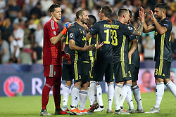 September 19, 2018 - Valencia, Spain - Players of Juventus FC celebrate victory during the UEFA Champions League, Group H football match between Valencia CF and Juventus FC on September 19, 2018 at Mestalla stadium in Valencia, Spain (Credit Image: © Manuel Blondeau via ZUMA Wire)