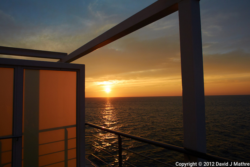 Sunset Day 1 Fall Semester at Sea Voyage from Deck 7 of the M/V Explorer in the Atlantic Ocean.  Image taken with a Nikon 1 V1 camera and 10 mm f/2.8 lens (ISO 100, 10 mm, f/4.5, 1/500 sec).