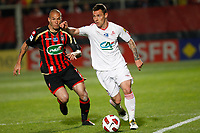 FOOTBALL - FRENCH CUP 2010/2011 - 1/2 FINAL - OGC NICE v LILLE OSC - 19/04/2011 - PHOTO PHILIPPE LAURENSON / DPPI - MATHIEU DEBUCHY (LIL) / DIDIER DIGARD (NIC)