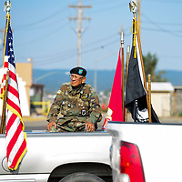 Roger Nelson, 75, of Ft. Defiance waits in the parade float for the start of the Navajo Code Talkers Parade in Window Rock, AZ on Aug. 14, 2018.