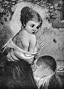 A young maiden is frightened by a wasp while she is bathing, Artwork from Godey's Lady's Book and Magazine, 1880, Published in Philadelphia, USA by Louis A. Godey, Sarah Josepha Hale,