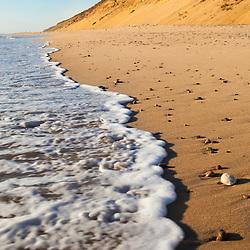 Surf washing up on Marconi Beach in the Cape Cod National Seashore.  Wellfleet, Massachusetts.