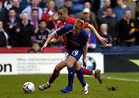 Photo: Olly Greenwood.<br />Crystal Palace v Crewe Alexander. Coca Cola Championship. 15/04/2006. Palace's Ben Watson and Crewe's Majid Bouherra battle.