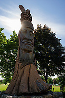 Repairs are being considered for Opechee Park's carved Indian statue.  (Karen Bobotas/for the Laconia Daily Sun)