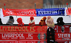 10th December 2017 - Premier League - Liverpool v Everton - A half-and-half scarf for sale on a souvenir stall - Photo: Simon Stacpoole / Offside.