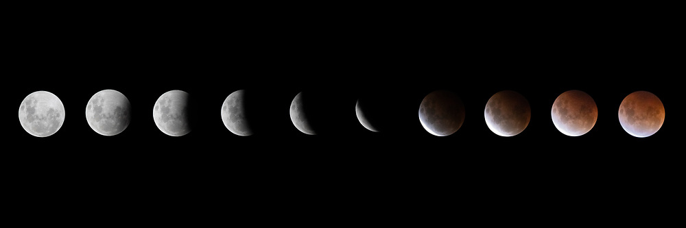 Lunar Eclipse SuperBloodMoon May26 2021 The Super Flower Blood Moon of May 26, 2021 has not been seen in New Zealand since 1982.  This photograph is a sequence of the earth's shadow progressively eclipsing the moon.