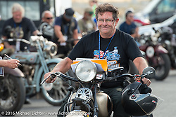 Francisco Tirado of Spain arrives at the finish on a 1937 Indian Chief during tage 12 (299 m) of the Motorcycle Cannonball Cross-Country Endurance Run, which on this day ran from Springville, UT to Elko, NV, USA. Wednesday, September 17, 2014.  Photography ©2014 Michael Lichter.