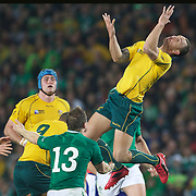 Quade Cooper, Australia, prepares to take a bomb during the Australia V Ireland Pool C match during the IRB Rugby World Cup tournament. Eden Park, Auckland, New Zealand, 17th September 2011. Photo Tim Clayton...