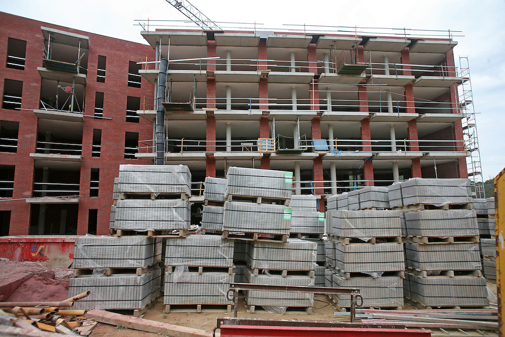 Numerous buildings under construction stopped due to the big real estate crisis in Spain..Girona, Catalonia. Spain.