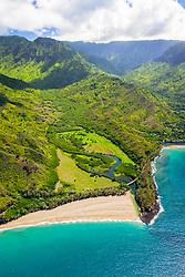 Lumahai River and Lumahai Beach, North Shore, Kauai, Hawaii, USA, Pacific Ocean