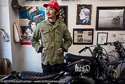 Go Takamine with Harley-Davidson's design team during their visit to Go's Brat Style shop. Tokyo, Japan. Monday, December 8, 2014. Photograph ©2014 Michael Lichter.