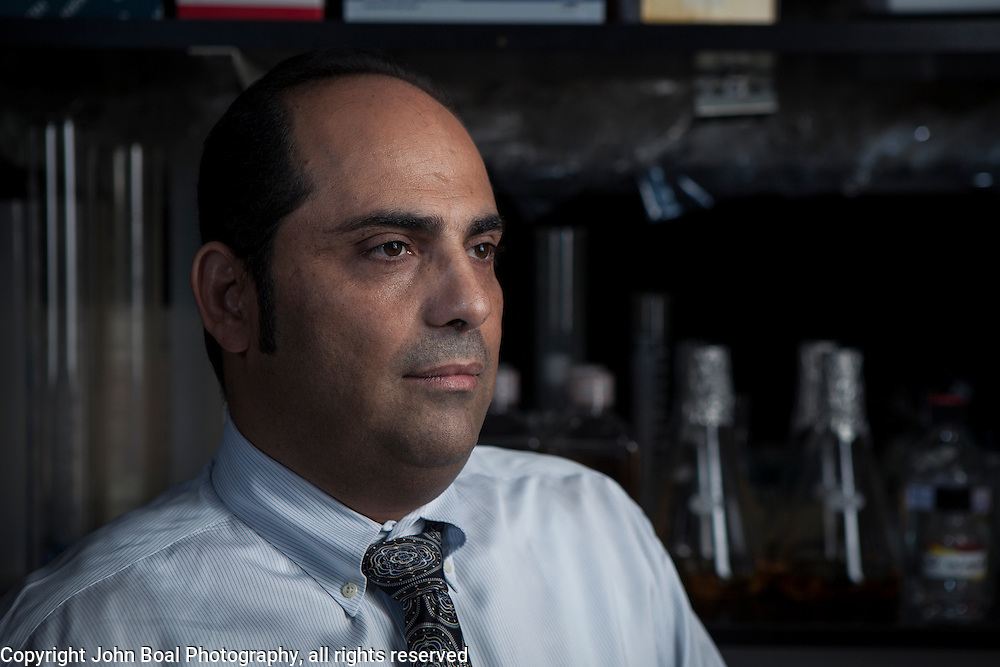 Dr. Charbel Moussa inside his laboratory at Georgetown University, on Wednesday, August 17, 2016.  Dr. Moussa is investigating new therapeutic treatments for Parkinson's, Alzheimer and other related diseases.