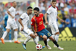 (l-r) Aleksandr Samedov of Russia, Isco of Spain during the 2018 FIFA World Cup Russia round of 16 match between Spain and Russia at the Luzhniki Stadium on July 01, 2018 in Moscow, Russia
