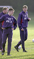 Tore Andre Flo signs for Rangers and traisn with squad for first time.<br />Pic Ian Stewart, November 23rd. 2000.<br />Torre Andre Flo at training this morning with new team mates Jorge Albertz and Kenny Miller. (Photo:Ian Stewart , Digitalsport)