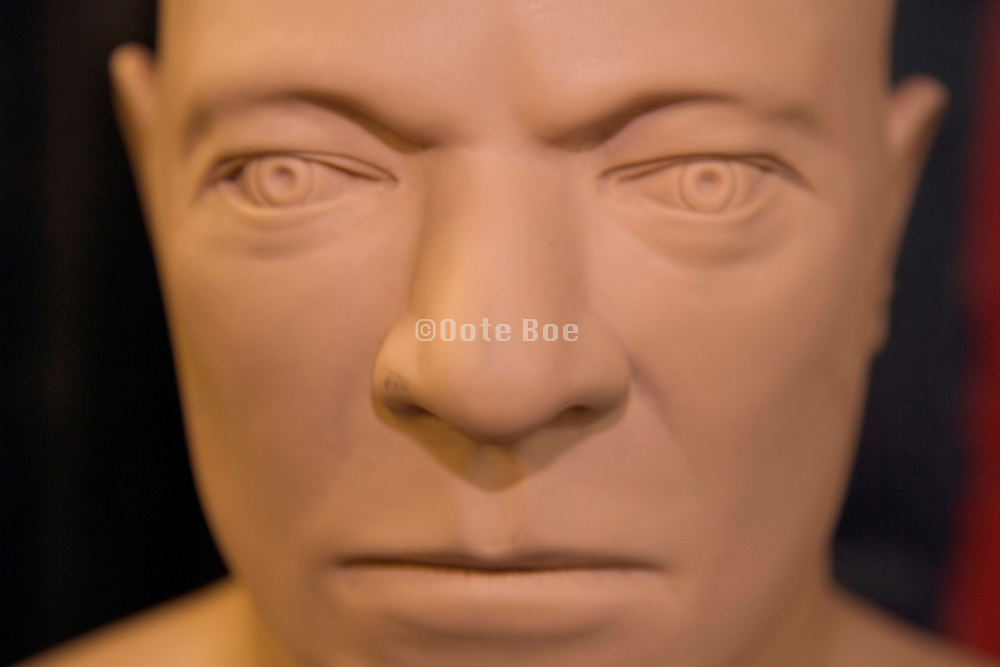 extreme close up of the face of a boxing punch dummy