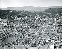 1940 Looking north from Rossmore & Beverly Blvds. Wilshire Country Club is at lower left