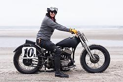 Karen Howell with her 1942 Harley-Davidson WLA 45 inch flathead racer at TROG (The Race Of Gentlemen). Wildwood, NJ. USA. Sunday June 10, 2018. Photography ©2018 Michael Lichter.