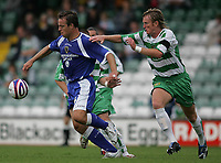 Photo: Lee Earle.<br /> Yeovil Town v Cardiff City. Pre Season Friendly. 21/07/2007.Cardiff's Gavin Rae (L) battles with Terry Skiverton.