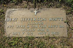 31 August 2017:   Veterans graves in Park Hill Cemetery in eastern McLean County.<br /> <br /> Bert Jefferson White  Illinois Private BTRY B 358 Field Artillery BN  World War II  Oct 7 1914  Nov 1 1963