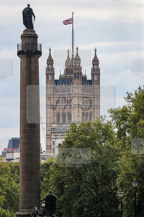 A general overview looking at the Westminster Palace from Picadilly Circus in central London on Wednesday, Sept 2, 2020. Britain's parliament returned on Tuesday after the summer break. (VXP Photo/ Vudi Xhymshiti)