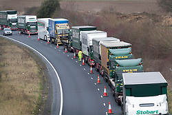 © Licensed to London News Pictures. 07/01/2019. Dover, UK. Trucks line up on the approach to Dover as a no-deal Brexit planning exercise takes place. 89 lorries are testing traffic conditions on the 20 mile route between Manston and the Port of Dover. Photo credit: Peter Macdiarmid/LNP