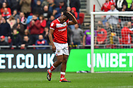 Antoine Semenyo (18) of Bristol City looks dejected as he walks off after being shown a red card, sent off during the EFL Sky Bet Championship match between Bristol City and Derby County at Ashton Gate, Bristol, England on 27 April 2019.