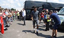 Pierre-Emerick Aubameyang arrives for the pre-season match at Meadow Park, Boreham Wood.
