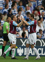 Photo: Lee Earle.<br /> Reading v West Ham United. The FA Barclays Premiership. 01/09/2007.West Ham's George McCartney (R) congratulates Craig Bellamy after his opening goal.