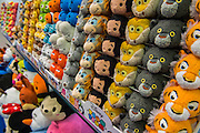 Soft toys as characters from Disney films on the Posh Paws stand - The annual London Toy Fair, the trade show for the toy and games industry, takes place at Olympia.