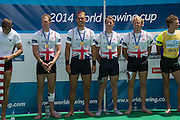 Aiguebelette, FRANCE.   Gold Medallist left  to right,  Alex GREGORY, Mo SBIHI, George NASH and Andy TRIGGS HODGE.  2014 FISA World Cup II, 12:28:23  Sunday  22/06/2014. [Mandatory Credit; Peter Spurrier/Intersport-images]