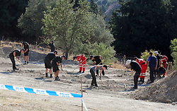 A view of the scene in Kos, Greece, as officers from South Yorkshire Police continue excavations in relation to the missing toddler Ben Needham.