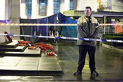 © licensed to London News Pictures. Manchester, UK 16/12/2011. The tram network in Central Manchester is closed following the death of a man on the line. The incident occured at approximately 11pm on the evening of 15th December. St Peter's Square in the city centre was closed as police, fire and ambulance crews worked to recover the body which was trapped by a tram. Photo credit should read Joel Goodman/LNP