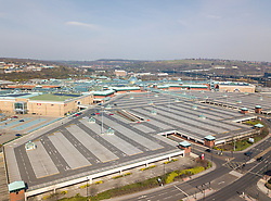 © Licensed to London News Pictures. 24/03/20. One of the UK's largest shopping centres, Meadowhall in Sheffield ,home to 280 stores,covering 1,500,000 ft and with over 12,000 car parking spaces, is all but deserted. The country is put into 'lockdown' as the government has ordered only essential stores to remain open with only key workers at work and essential travel permitted.  Picture Scott Merrylees/LNP