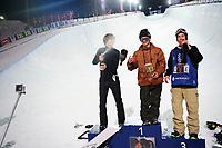 Snowboard , X-Games Oslo <br /> 26. Februar 2016  , 20160226<br /> Snowboard, Half Pipe, Wyller, X-Games <br /> Iouri Podladtchikov , Ayumu Hirano og Chase Josey på seierspallen etter mennenes finale <br /> Foto: Sjur Stølen / Digitalsport