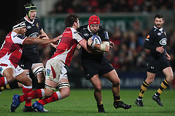 Wasps' James Haskell tackled by Ulster's Iain Henderson during the European Champions Cup pool one match at Kingspan, Belfast.