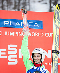 Winner Robert Kranjec (SLO) celebrates at trophy ceremony after the Ski Flying Hill Individual Competition at Day 2 of FIS Ski Jumping World Cup Final 2016, on March 18, 2016 in Planica, Slovenia. Photo by Vid Ponikvar / Sportida