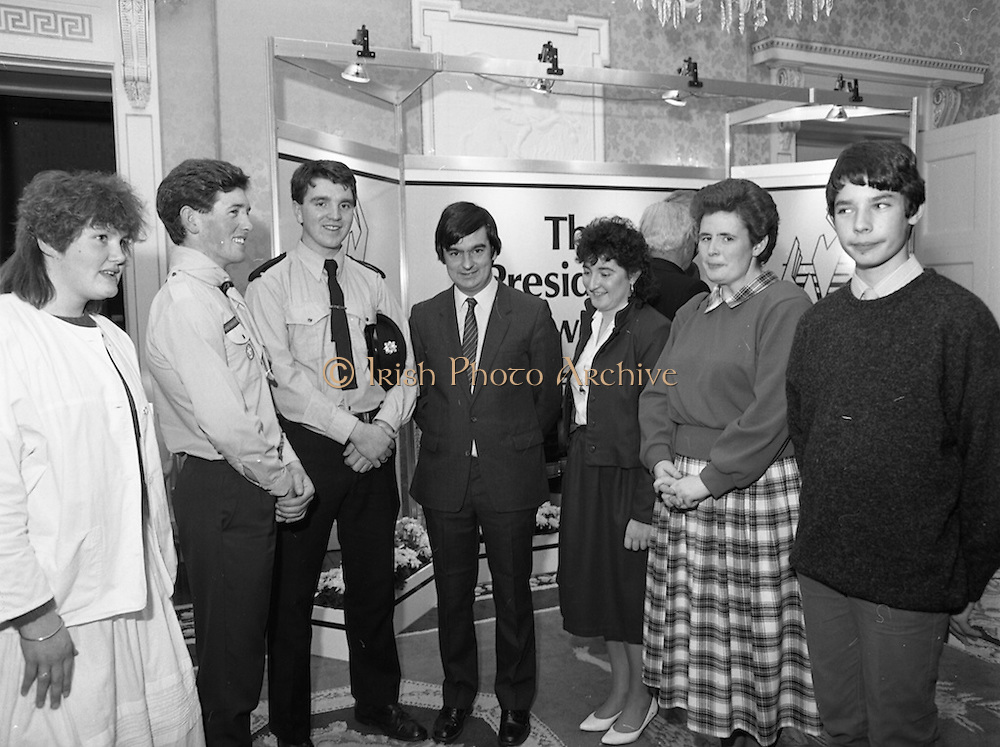 28/10/1985<br /> 10/28/1985<br /> 28 October 1985<br /> Launch of Gaisce The Presidents Award at Aras an Uachtarain. President Dr. Patrick Hillery launched the new national youth award scheme to be the nations highest award to Irish young people aged 15-25. Picture shows Mr. George Birmingham, T.D., Minister of State at the Department of Labour with the participants (l-r): Niamh Ni Bhaoil (Galway); David Breggazzi (Finglas, Dublin); Garda Donal Smyth (Castleblaney, Co. Monaghan);  Mr. Birmingham; Mary Doherty (Kilkenny); Cathriona McSkeane (Ballybay, Co. Monaghan) and Gareth Armstrong (Galway).