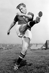 Bobby Charlton, who is to play centre-forward in the Manchester United team meeting Bolton Wanderers in the FA Cup Final at Wembley.