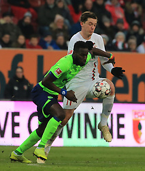15.12.2018, 1.BL, FCA vs Schalke 04, WWK Arena Augsburg, Fussball, Sport, im Bild:..Salif Sane (Schalke 04) vs Michael Gregoritsch(FC Augsburg)..DFL REGULATIONS PROHIBIT ANY USE OF PHOTOGRAPHS AS IMAGE SEQUENCES AND / OR QUASI VIDEO...Copyright: Philippe Ruiz..Tel: 089 745 82 22.Handy: 0177 29 39 408.e-Mail: philippe_ruiz@gmx.de. (Credit Image: © Philippe Ruiz/Xinhua via ZUMA Wire)