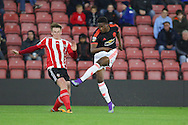 Manchester United U21 Matty Willock shoots at goal during the Barclays U21 Premier League match between U21 Southampton and U21 Manchester United at the St Mary's Stadium, Southampton, England on 25 April 2016. Photo by Phil Duncan.