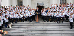 A celebration for Olympic Athletes from Team USA at The White House in Washington, DC, April 27, 2018. Credit: Chris Kleponis / Polaris. 27 Apr 2018 Pictured: United States President Donald J. Trump hosts a celebration for Team USA at the White House in Washington, DC on Friday, April 27, 2018. Credit: Ron Sachs / CNP. Photo credit: Chris Kleponis/CNP/MEGA TheMegaAgency.com +1 888 505 6342
