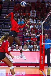 BLOOMINGTON, IL - September 14: Stef Jankiewicz watches Emmy Ogogor power slam the ball over the net during a college Women's volleyball match between the ISU Redbirds and the University of Central Florida (UCF) Knights on September 14 2019 at Illinois State University in Normal, IL. (Photo by Alan Look)