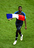 Samuel Umtiti (France) celebrate with the France flag on the pitch after the award ceremony<br /> Celebration Victory France <br /> Moscow 15-07-2018 Football FIFA World Cup Russia  2018 Final / Finale <br /> France - Croatia / Francia - Croazia <br /> Foto Matteo Ciambelli/Insidefoto
