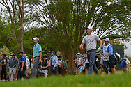 Kevin Kisner (USA) and Alex Noren (SWE) depart the 3rd tee  during day 5 of the World Golf Championships, Dell Match Play, Austin Country Club, Austin, Texas. 3/25/2018.<br /> Picture: Golffile | Ken Murray<br /> <br /> <br /> All photo usage must carry mandatory copyright credit (© Golffile | Ken Murray)